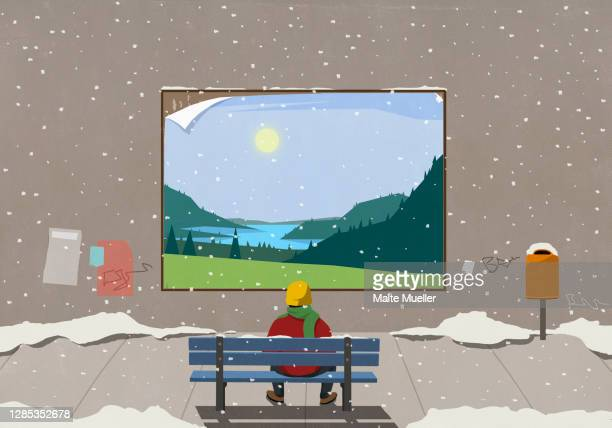 man on snowy city bench looking at scenic rural billboard - opportunity stock illustrations