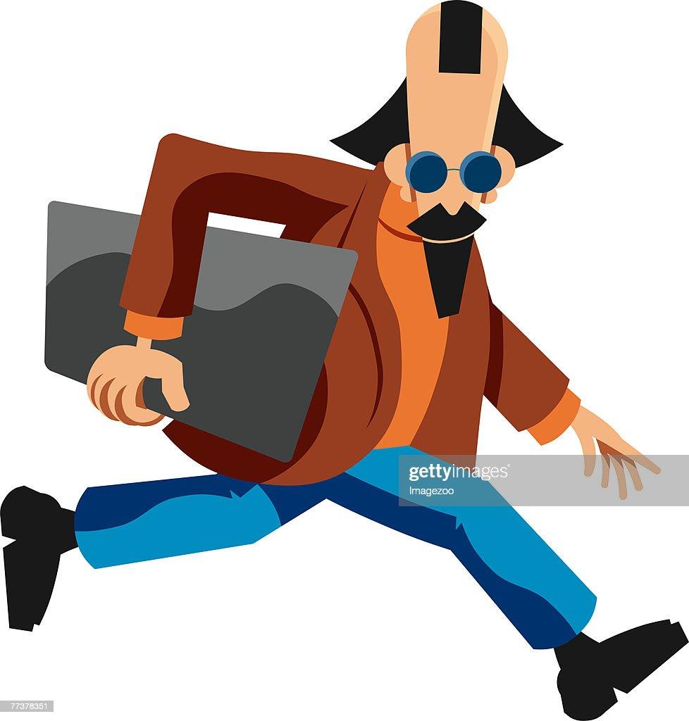 man on the run : Illustration
