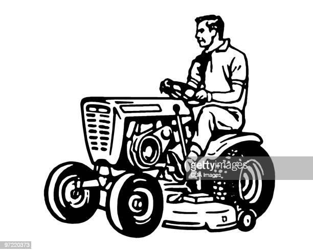 man on tractor - lawn mower stock illustrations