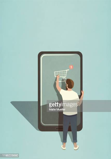 man online shopping with mobile app on large smart phone - consumerism stock illustrations