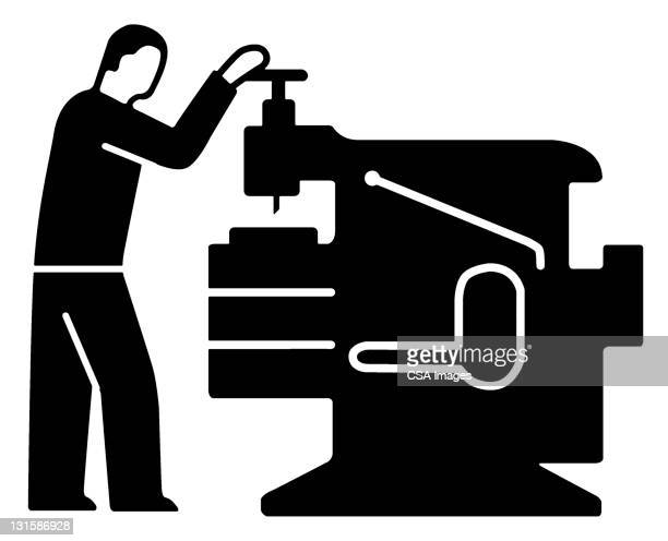 Man Operating Machine