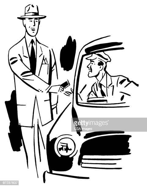 ilustraciones, imágenes clip art, dibujos animados e iconos de stock de man paying driver - taxista