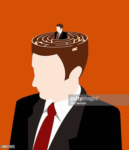 ilustraciones, imágenes clip art, dibujos animados e iconos de stock de a man peering out of the top of another man's head - adulto de mediana edad