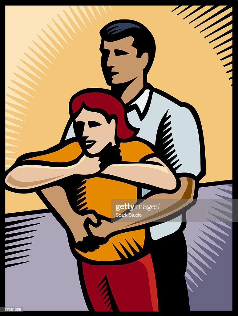 A man performing hymlic maneuver on a girl : Illustration