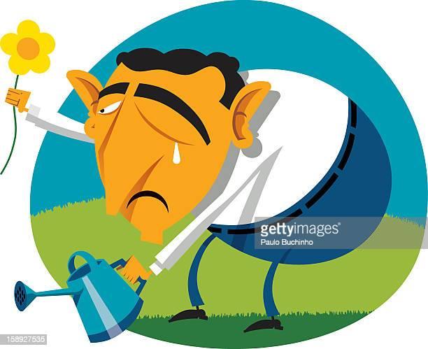 ilustrações de stock, clip art, desenhos animados e ícones de a man picking a flower and holding a watering can - buchinho