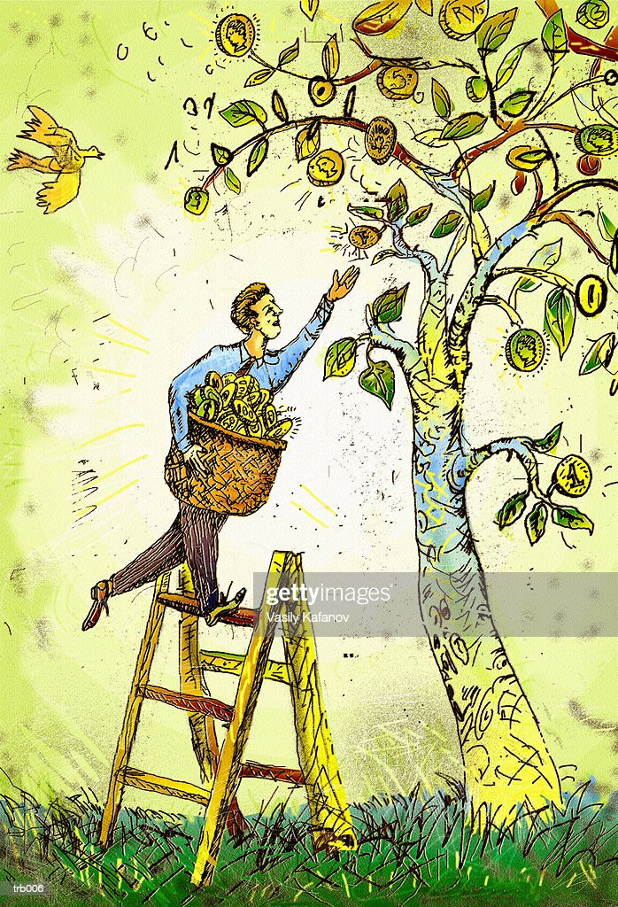 Man Picking Coins from Tree : Stockillustraties