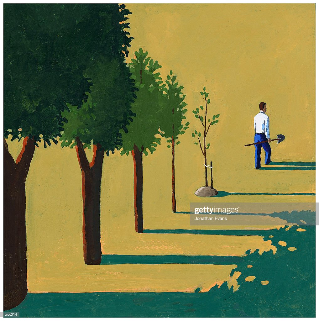 Man Planting Trees : Illustration