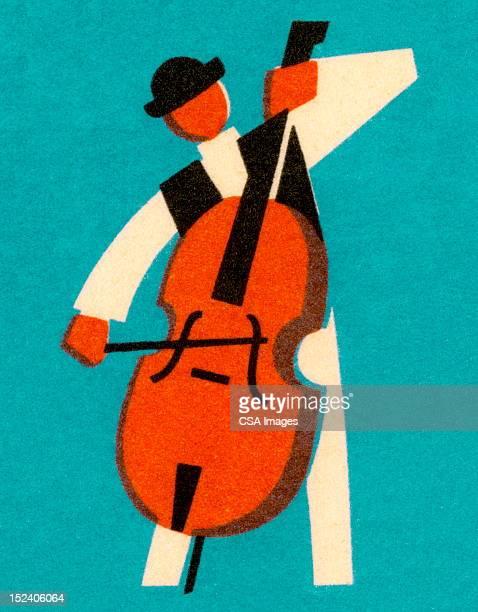 man playing bass - bass instrument stock illustrations, clip art, cartoons, & icons