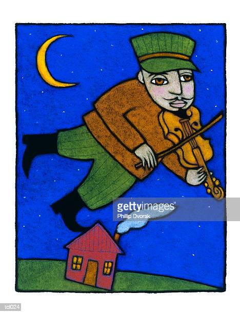 man playing fiddle - music style stock illustrations, clip art, cartoons, & icons