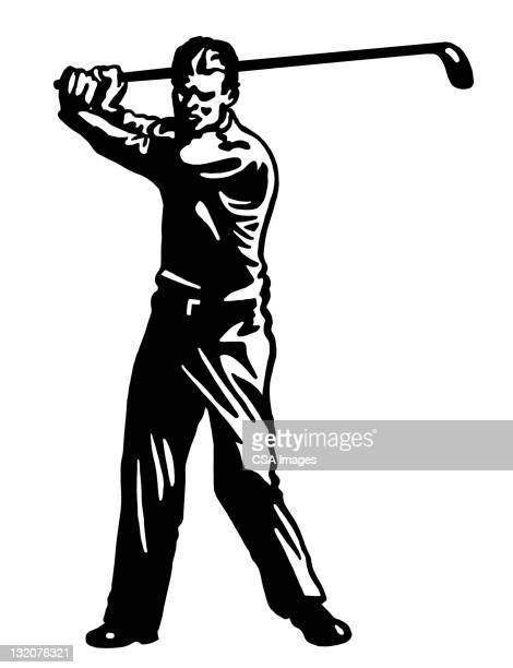 man playing golf - golf swing stock illustrations, clip art, cartoons, & icons