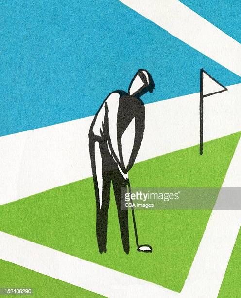 ilustrações de stock, clip art, desenhos animados e ícones de homem a jogar golfe - golf tournament