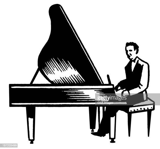 Man Playing Grand Piano