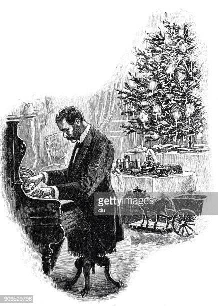 man playing piano at the christmas tree - christmas past and christmas present stock illustrations