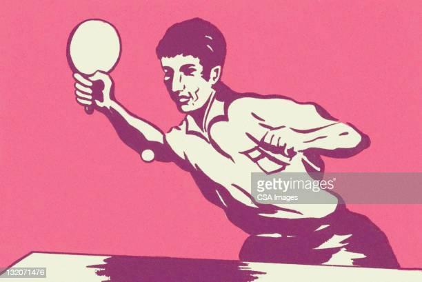 ilustraciones, imágenes clip art, dibujos animados e iconos de stock de hombre tocando de ping pong - tenis de mesa