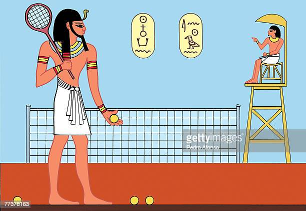 stockillustraties, clipart, cartoons en iconen met a man playing tennis with the umpire sitting on the raised chair - pedo