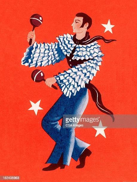 man playing the maracas - maracas stock illustrations