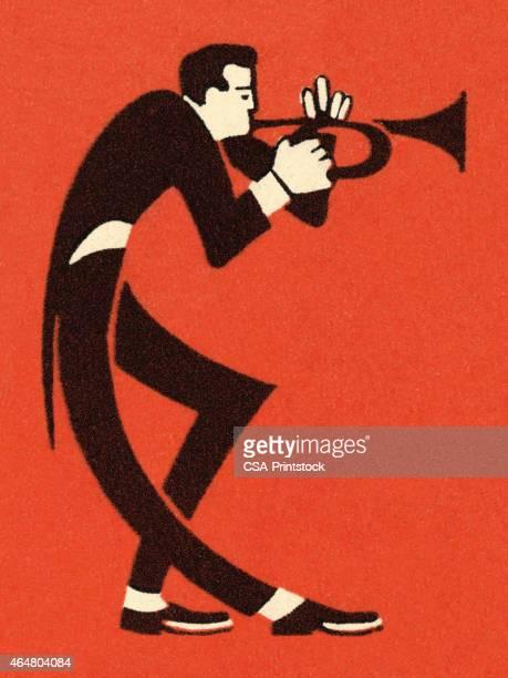 illustrations, cliparts, dessins animés et icônes de homme jouant trompette - jazz