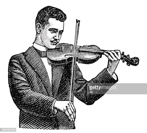man playing violin cut out on white background - violin stock illustrations, clip art, cartoons, & icons