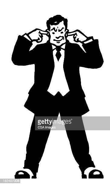 man plugging ears - fingers in ears stock illustrations