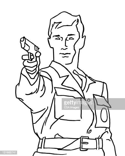 man pointing gun - uniform stock illustrations