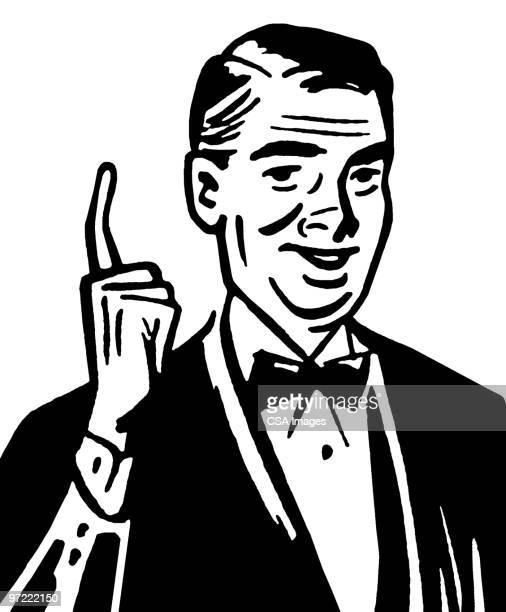 illustrazioni stock, clip art, cartoni animati e icone di tendenza di man pointing up - abbigliamento formale
