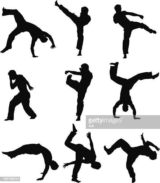 ilustrações de stock, clip art, desenhos animados e ícones de homem prática de capoeira - capoeira