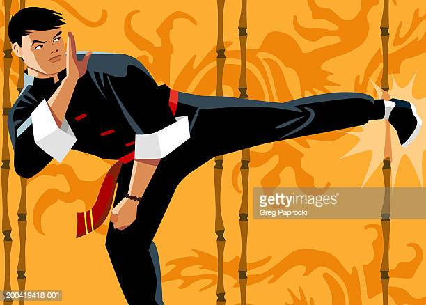 man practicing martial arts, performing kick - standing on one leg stock illustrations, clip art, cartoons, & icons