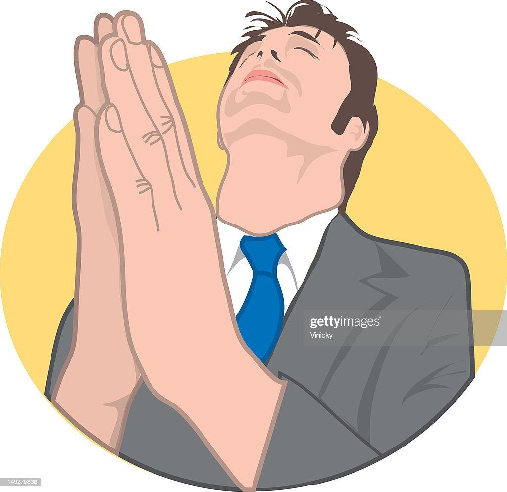 A man praying : Stock Illustration