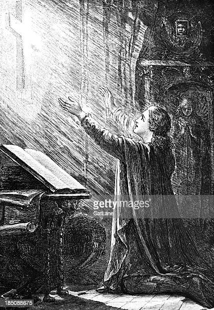 Man Praying - Victorian Illustration