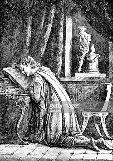 Man Praying - Victorian Illustration