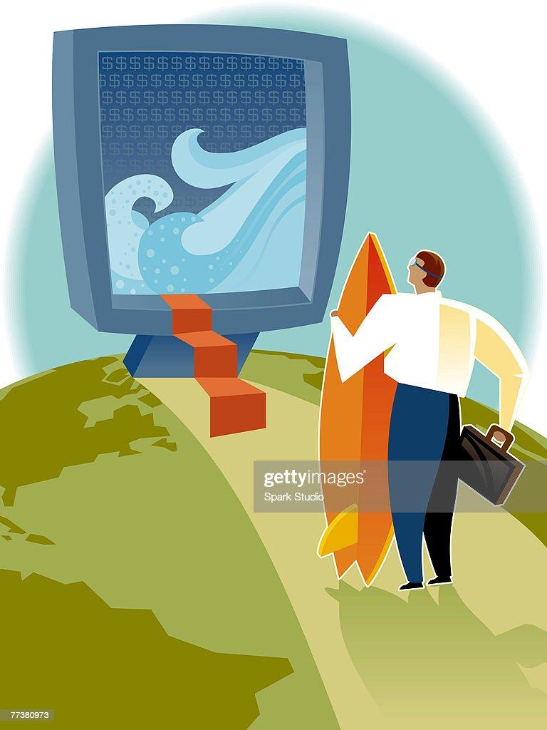 A man preparing for some net surfing : Illustration