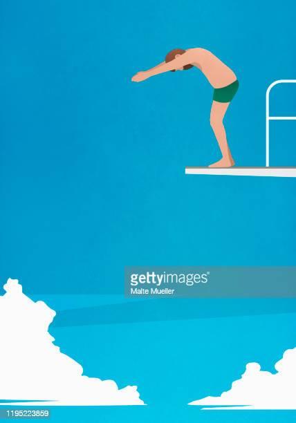 man preparing to dive off platform - anticipation stock illustrations