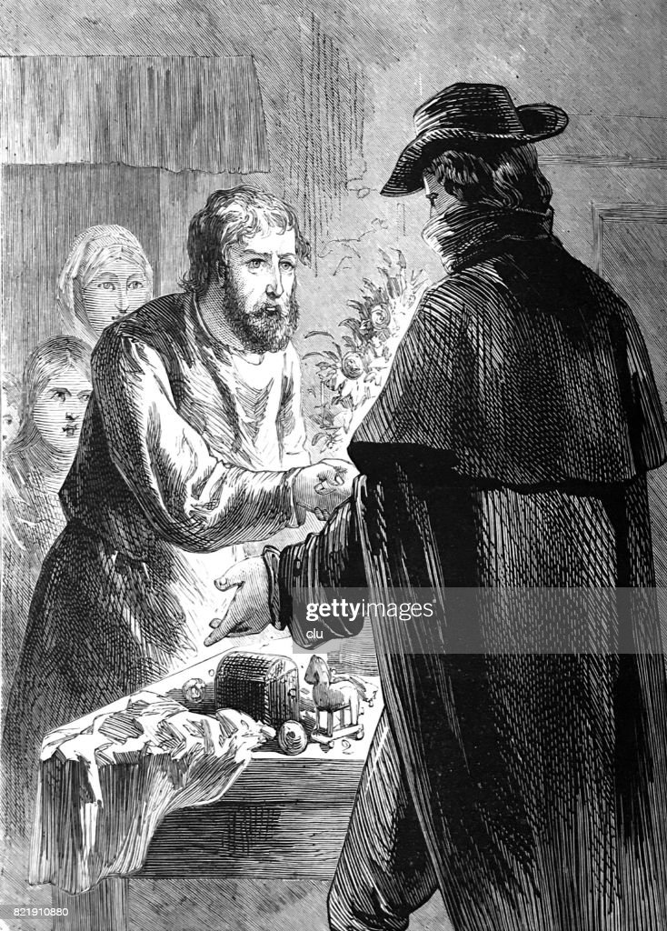 Man presenting christmas gifts to another man : stock illustration