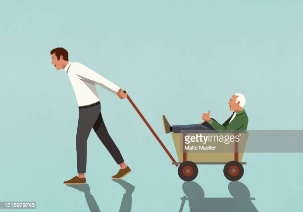 man pulling senior father in wagon - the ageing process stock illustrations
