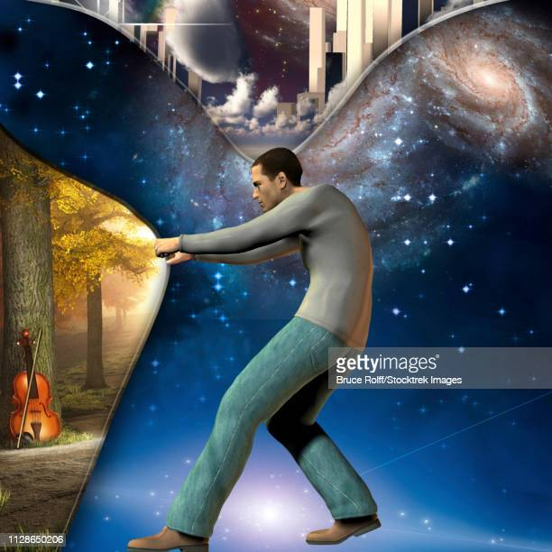 Man pulls back curtian showing peaceful scene with violin