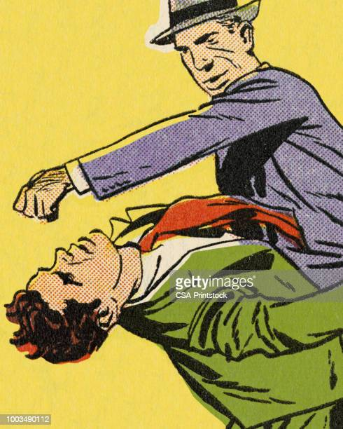 man punching another man - revenge stock illustrations