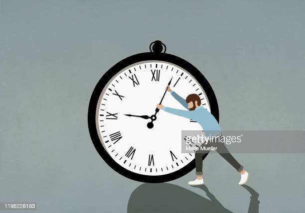 man pushing hands of large stopwatch - effort stock illustrations