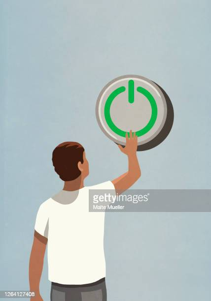 man pushing large power on button - rear view stock illustrations