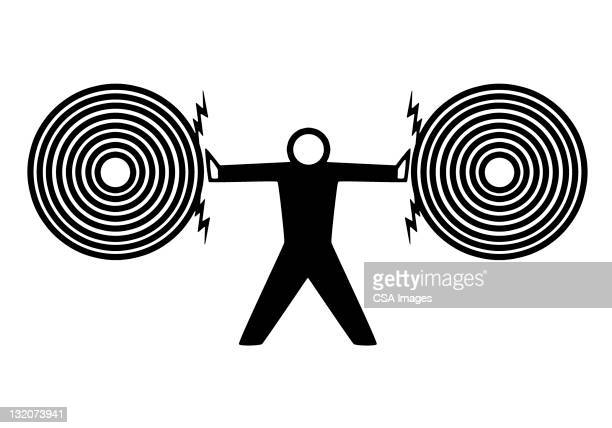 man pushing targets apart - stubborn stock illustrations, clip art, cartoons, & icons