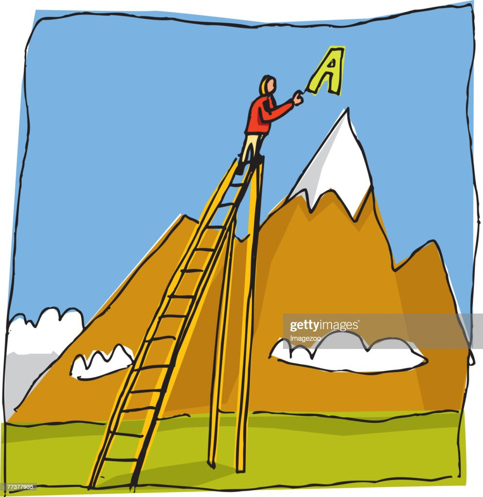 man putting a letter on a mountaintop : Illustration