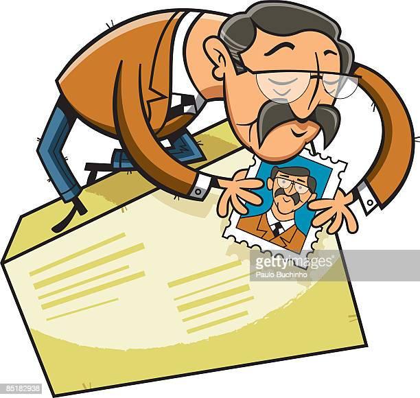 ilustrações de stock, clip art, desenhos animados e ícones de a man putting a stamp with his own picture on a large envelope - buchinho