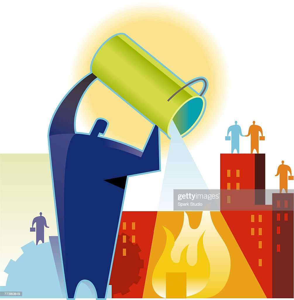 A man putting out a fire : Illustration
