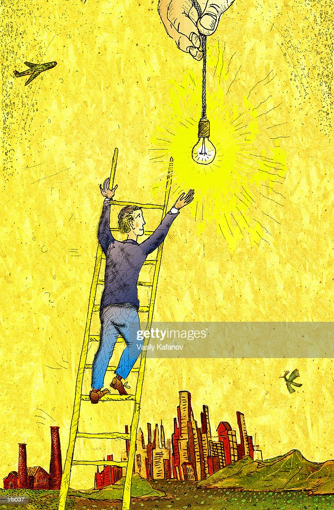 Man Reaching for Light Bulb : Stockillustraties