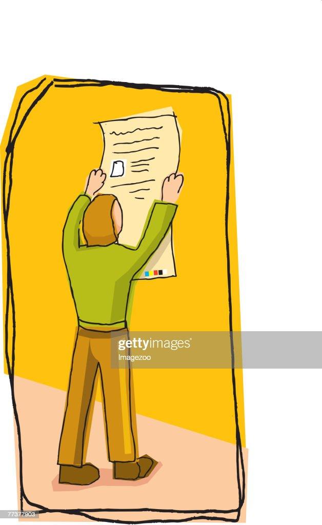 man reading a paper : Illustration