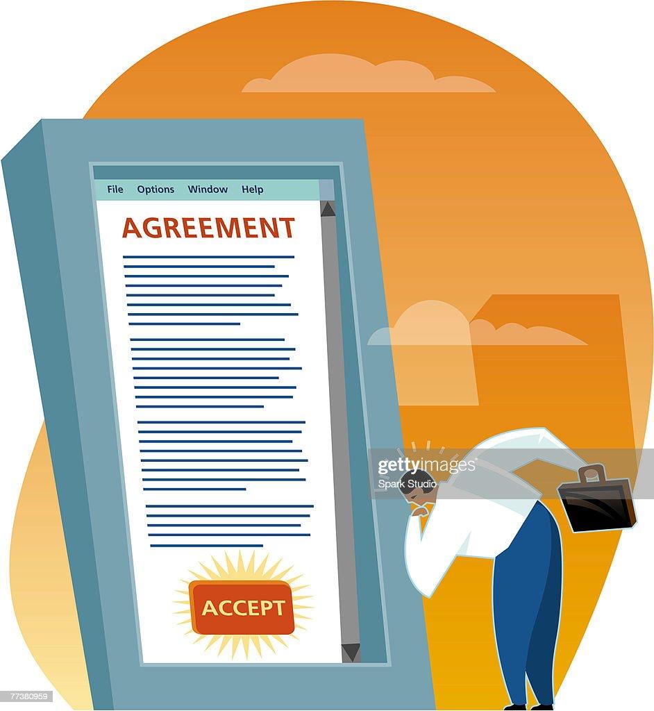 A man reading an online agreement : Illustration