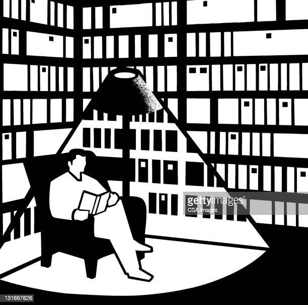 man reading book - chaise stock illustrations, clip art, cartoons, & icons