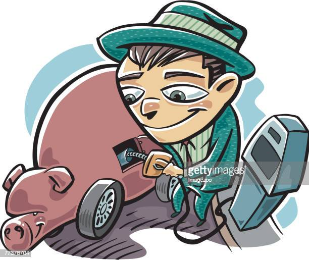man refueling the piggy bank - gas prices stock illustrations, clip art, cartoons, & icons