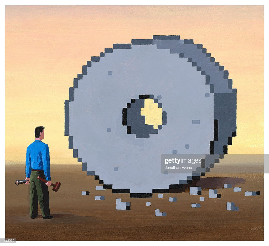 Man Reinventing the Wheel : Illustration