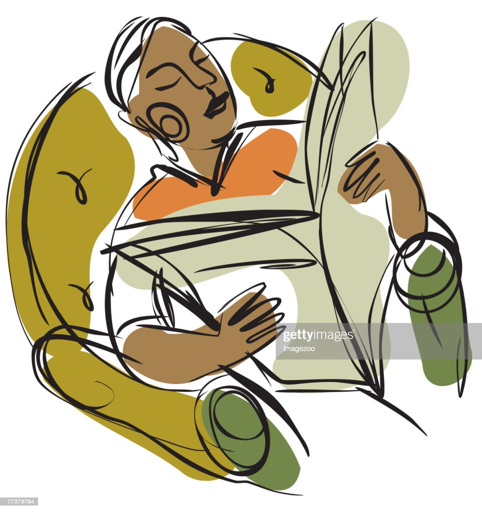 man relaxing and reading a newspaper : Illustration