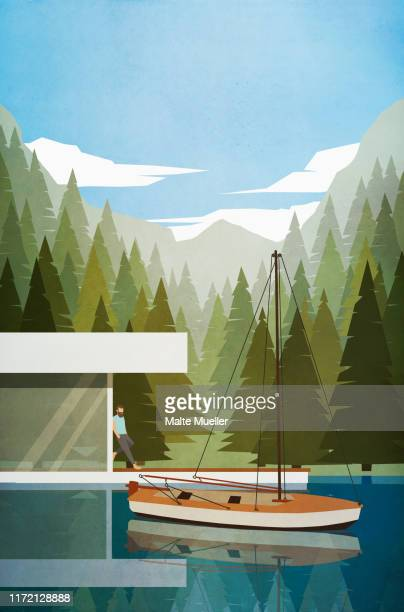 man relaxing at modern lakeside house with boat - carefree stock illustrations